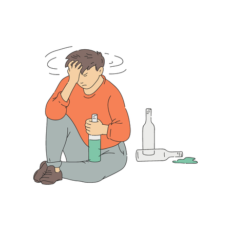 Vector alcohol addicted man sitting holding head with hangover. Young male character alcoholic with bottle and headache. Social medical problem. Man suffering from drink addiction. Illustration