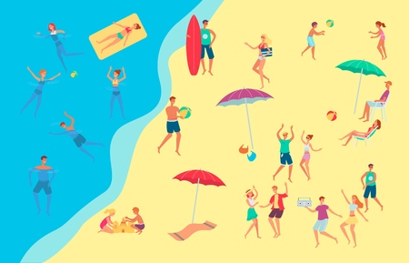 Vector people at seaside beach concept. Male, female characters, adults and kids having fun playing volleyball, building sand castles, surfing, swimming in sea with inflatable rings, dancing
