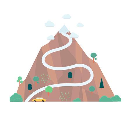 Montaña de vector con bandera en su parte superior. Concepto de éxito, logro y trayectoria profesional. Símbolo de liderazgo empresarial, desafío y establecimiento de objetivos.