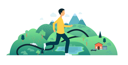 Vector man running in fast pace smiling. Happy male sportsman working out on countryside landscape background. Active young character, healthy lifestyle. Illustration