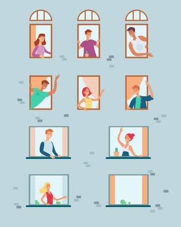 Vector neighbors looking out the windows waving hands, communicating and greeting each other. Flat men, women at their appartment windows. Neighborhood characters set. Illustration