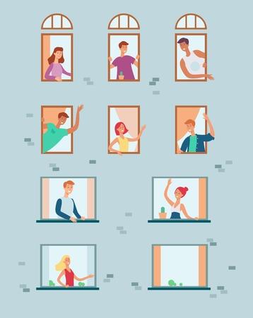 Vektornachbarn, die aus den Fenstern schauen, die Hände winken, miteinander kommunizieren und sich begrüßen. Flache Männer, Frauen an ihren Wohnungsfenstern. Nachbarschaftszeichen eingestellt.