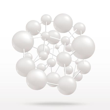 Molécula abstracta de vector sobre fondo aislado. Objeto molecular de átomos grises para diseño médico, químico, biotecnológico y farmacéutico.