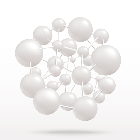 Vector abstract molecule on isolated background. Grey atoms molecular object for medical, chemical, biotechnologies and pharmaceutical related design.