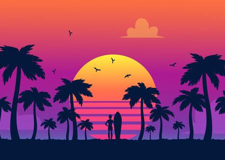 Silhouetten van tropische zomerpalmen en het strand op de achtergrond van een gradiëntzonsondergang. Silhouetten van surfer bij zomer zonsondergang, retro vectorillustratie.