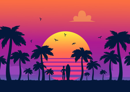 Silhouettes of tropical summer palm trees and the beach on the background of a gradient sunset. Silhouettes of surfer at summer sunset, retro vector illustration. Ilustração