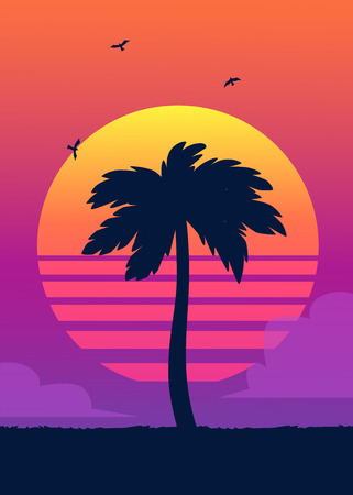 Silhouette of tropical palm tree on the background of a gradient sunset. Vintage summer poster. Tropical summer vector illustration. Stock Illustratie