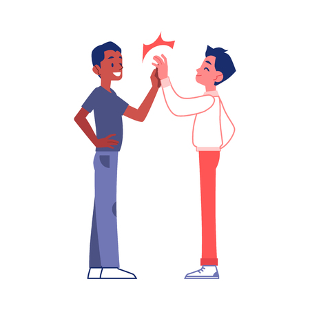 Vector two friends giving high five. Male african and caucasian young characters and sign of achievement, successful collaboration and teambuilding. Two partners after good deal. Illustration