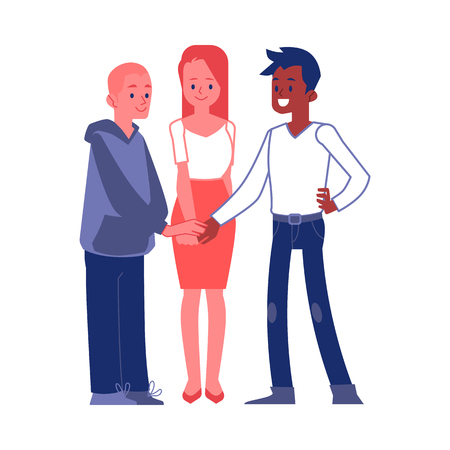 Vector business team members joining hands. Caucasian man, african man and woman and successful teambuilding, cooperation symbol. Office characters showing partnership and trust.