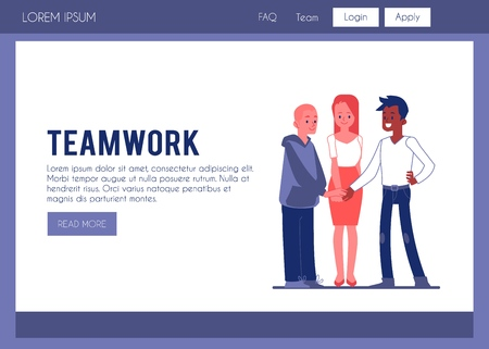 Vector teamwork poster concept with business team members joining hands. Caucasian man, african man and woman and successful teambuilding, cooperation symbol. Office characters showing partnership Ilustração
