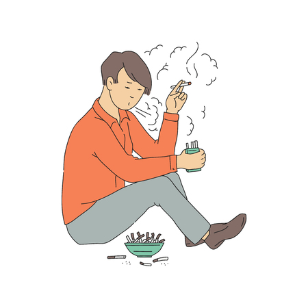 Vector nicotine addiction concept with young teen man sitting smoking cigarette near ashtray full of roach. Unhappy male character suffering from smoking. Lungs cancer, unhealthy lifestyle.