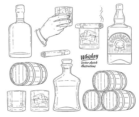 Insieme monocromatico di simboli di whisky di vettore. Bottiglia di vetro, mano dell'uomo che tiene un bicchiere di scotch con cubetti di ghiaccio, barile di alcol in legno, icona di schizzo di sigaro avana fumante. Design pubblicitario per prodotti alcolici.