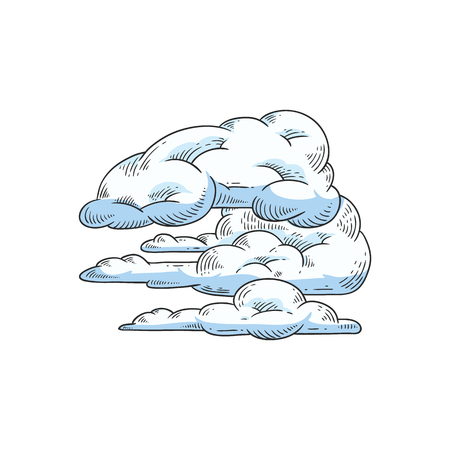 Vector abstract sky clouds sketch icon set. Natural phenomenon symbol, handdrawn sign of cloud computing technologies, weather and climate forecast. Isolated illustration