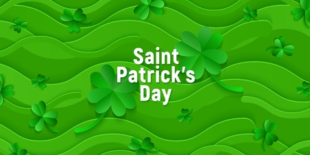 Vector Saint Patricks day holiday poster background. Green shamrocks, symbols of luck on abstract green waves backdrop. Irish national celebration, invitation card, promotion banner design.