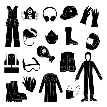 Vector protective uniform and equipment black monochrome icon. Professional clothing for work in contaminated areas, bio hazard or at dirty manufacturing. industrial safety wear, isolated illustration