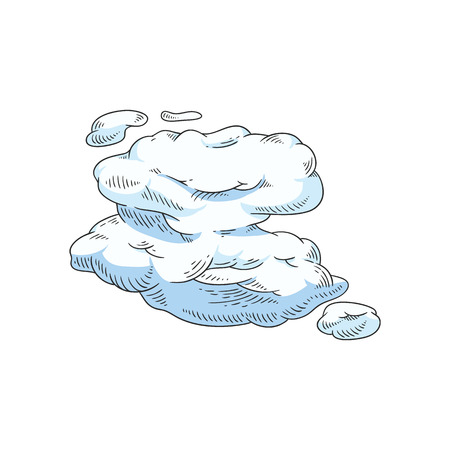 Vector abstract sky clouds sketch icon set. Natural phenomenon symbol, handdrawn sign of cloud computing technologies, weather and climate forecast. Isolated illustration Illustration