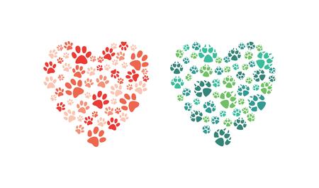 Cuore di vettore fatto di impronta di zampa animale. Ama gli animali e salva l'elemento decorativo del concetto di ambiente. Cani, simboli astratti dei piedi del gatto. Illustrazione isolata Vettoriali