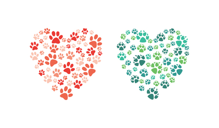 Vector heart made of animal paw footprint. Love animals and save environment concept decoration element. Dogs, cat abstract feet symbols. Isolated illustration Imagens - 117256632
