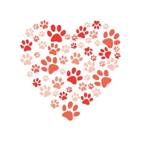 Cuore di vettore fatto di impronta di zampa animale. Ama gli animali e salva l'elemento decorativo del concetto di ambiente. Cani, simboli astratti dei piedi del gatto. Illustrazione isolata