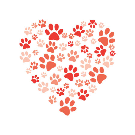Vector heart made of animal paw footprint. Love animals and save environment concept decoration element. Dogs, cat abstract feet symbols. Isolated illustration