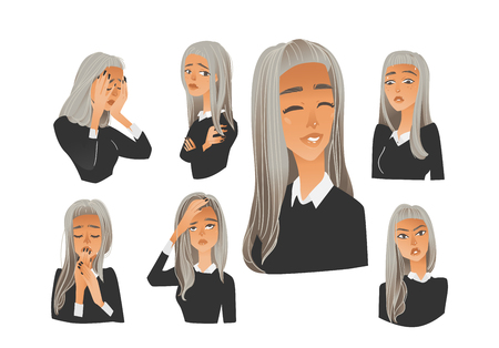 Vector beautiful young woman with negative emotions set. Blonde girl with sad, angry, terrified and exhausted facial expression collection. Isolated illustration Illustration