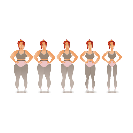 Vector stages of losing weight of redhead woman. From obese overweight to slim fit athlete female character . Before and after dieting and doing sport concept. Fitness and body weight issue.