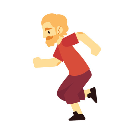 Vector illustration of young bearded man in sportswear running isolated on white background. Active male character doing cardio training jogging for healthy lifestyle concept design in flat style.