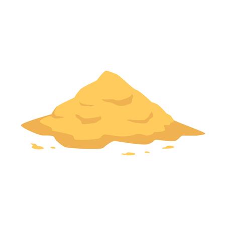 Mucchio di sabbia in stile piano isolato su sfondo bianco - illustrazione vettoriale di grande mucchio di polvere friabile gialla. Tumulo sabbioso per la costruzione, il tempo libero in spiaggia o il concetto di gioco per bambini.