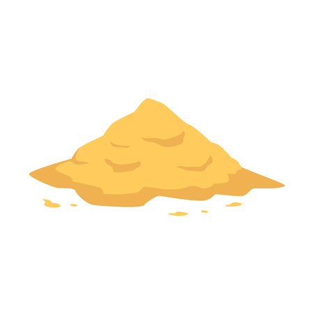 Sand heap in flat style isolated on white background - vector illustration of big pile of yellow crumbly powder. Sandy mound for building, beach leisure or kid game concept.