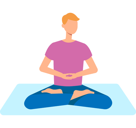 Vector man in casual outfit sitting in lotus posture practicing yoga. Male character at relaxation session. Concept of meditation, healthy lifestyle. Isolated illustration Ilustracja