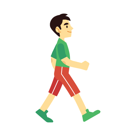 Vector walking or running flat man in sport outfit, red shorts and tshirt. Handsome male character sportsman going to workout. Isolated illustration Stock Illustratie