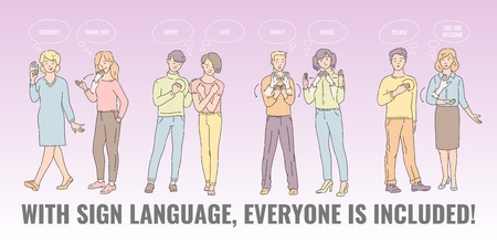 Vector con lenguaje de señas todo el mundo está incluido cartel con personas sordomudas comunicándose. hombres y mujeres jóvenes que hablan un idioma a mano. Gesto comunicando personajes con discapacidad.