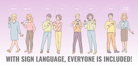 Vektor mit Gebärdensprache, jeder ist ein Poster mit taubstummen Menschen, die kommunizieren. junge Männer und Frauen, die Handsprache sprechen. Geste kommunizierende Charaktere mit Behinderung