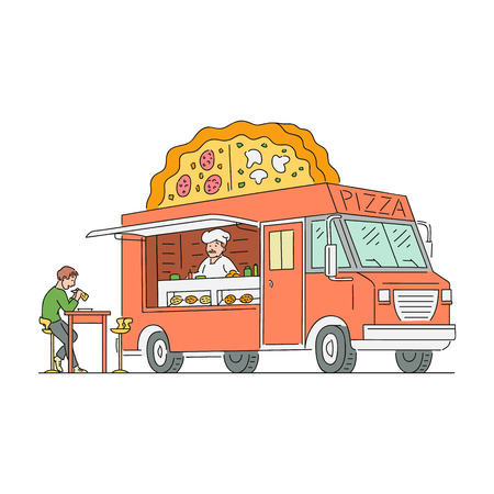 Vector sketch man eating pizza in pizza van in vintage style. 90s food truck, mobile sweets shop vehicle. Retro italian snacks delivery car. Isolated illustration Illustration