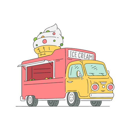 Vector sketch ice cream van in vintage style. 90s food truck, mobile sweets shop vehicle. Retro snacks delivery car. Isolated illustration