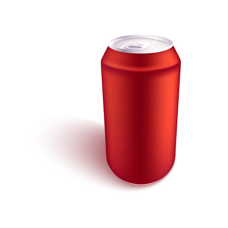 Vector illustration of red blank aluminum can mockup side view for alcohol or fizzy drink branding and advertising in realistic 3d style - isolated metallic tin for beer or soda. Illustration