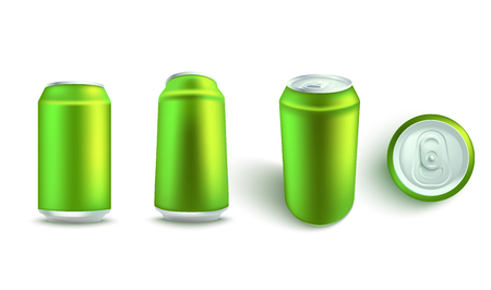Vector illustration mockup set of blank green aluminum soda or beer can from different angles in realistic 3d style - isolated empty tin for alcohol or fizzy drink branding and advertising.