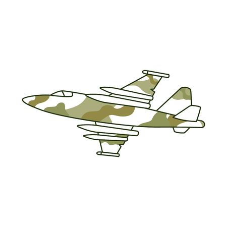 Khaki plane, fighter aircraft. Military element for decoration army and military concepts, Defender of Fatherland Day. Isolated vector illustration on white background 일러스트