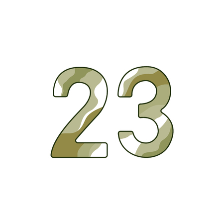 Khaki number 23 for Defender of Fatherland Day card. Russian holiday, 23 february vector illustration on isolated background. Illustration