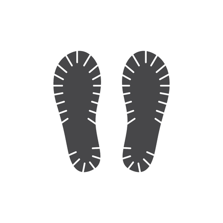 Vector abstract human boot, or sneakers shoe footprint icon. Black silhoette of footwear footmarks. Hiking equipment or army outdoor footwear. Isolated illustration Foto de archivo - 125353957