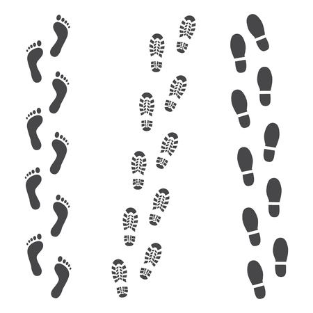 Vector abstract human boot, or sneakers shoe footprint track icon. Black silhoette of footwear footmarks. Hiking equipment or army outdoor footwear. Isolated illustration 스톡 콘텐츠 - 125353960