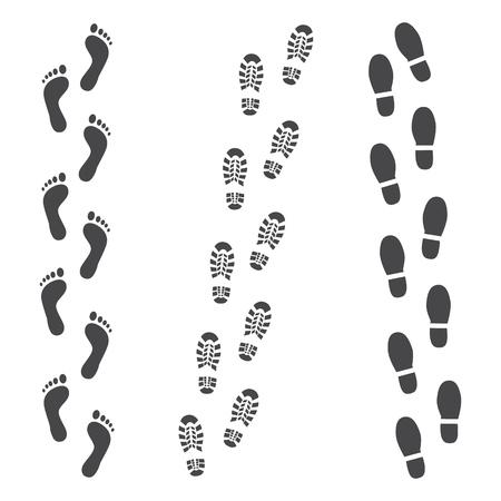 Vector abstracte menselijke laars, of sneakers schoen voetafdruk spoorpictogram. Zwarte silhoette van voetsporen van schoenen. Wandeluitrusting of legerschoenen voor buiten. geïsoleerde illustratie