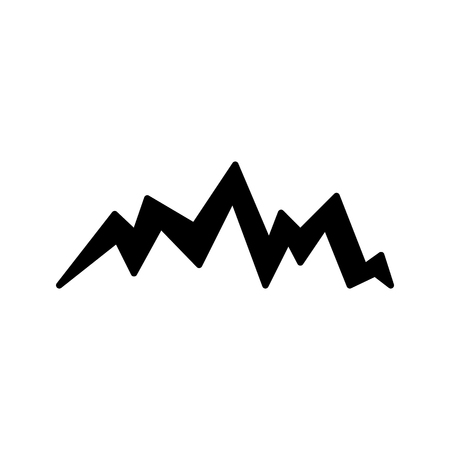 Rock and mountain silhouette with many peaks, vector isolated illustration on white background. Black mountain and hill silhouette for sign, icon. 일러스트
