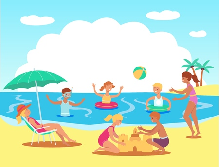 Vector teen kids having fun at beach swimming in sea with inflatable rings, playing ball, building sand castles with adult woman lying at lounger under sun umbrella. Summer family vacation concept