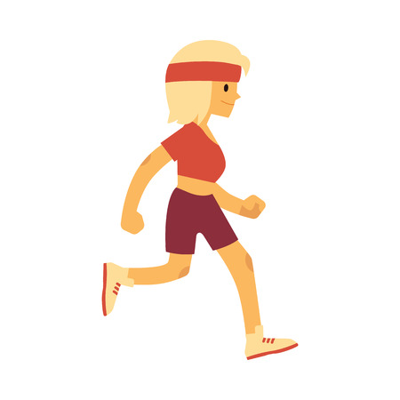 Vector illustration of woman in sportswear running in flat style isolated on white background - side view of happy active female character doing cardio training for healthy lifestyle concept.