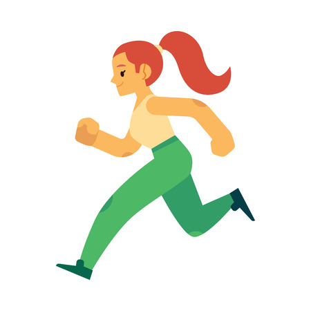 Vector illustration of young woman in sportswear running in flat style isolated on white background - side view of happy active female character doing cardio training jogging. 向量圖像