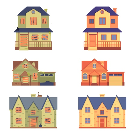 Set to home renovation flat cartoon style, before and after. Isolated vector flat illustration on white background. Old home renovated into cute cottage. Ilustração