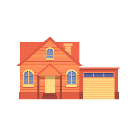 Cute orange house in flat cartoon style, isolated vector illustration on white background. Flat house, cottage with a garage.