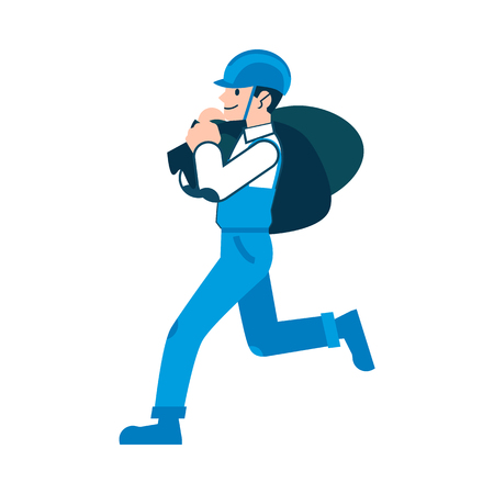 A man or worker in a helmet and coveralls is carrying sacks and bags, isolated vector illustration on white background. A man in flat cartoon style is carrying sacks.