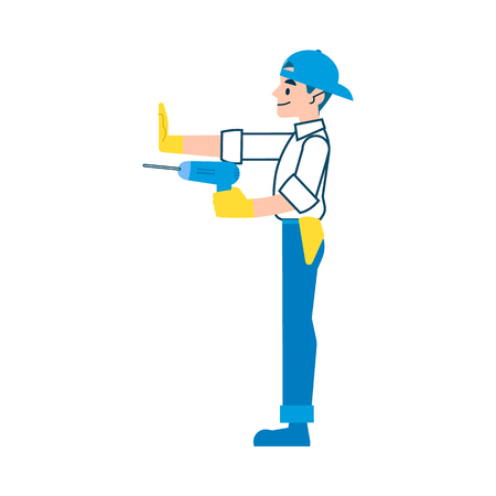 Man, repairman or worker repairs or builds with a drill in flat cartoon style, isolated vector illustration on white background.